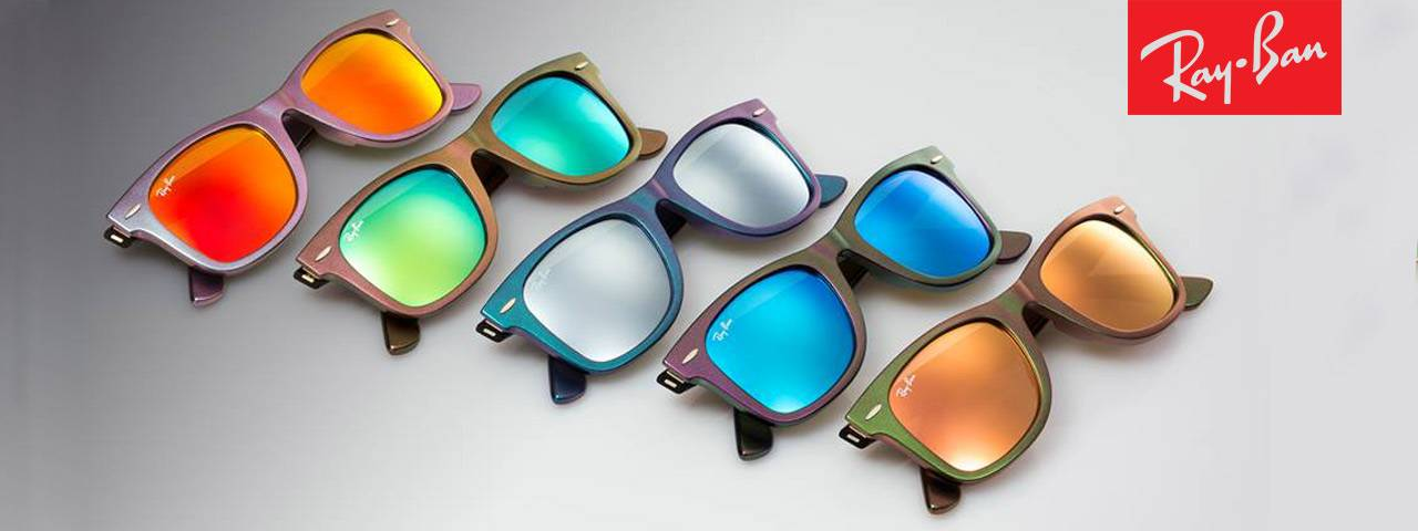 Ray Ban ad with multicolored sunglasses
